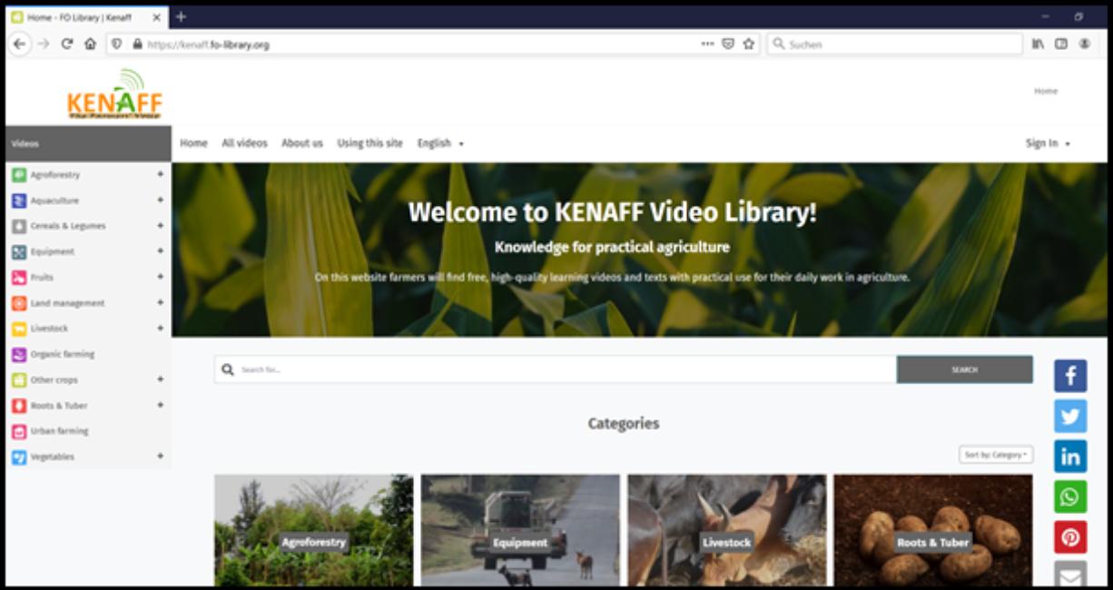 Screenshot der Video Library von KENAFF